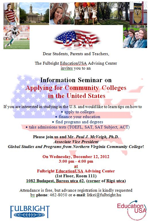 Information Seminar on Applying for Community Colleges  in the United States